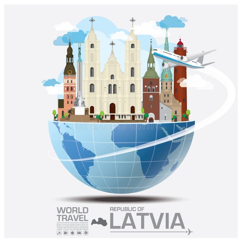 Republik Lettland-Markstein-globale Reise und Reise Infographi vektor abbildung