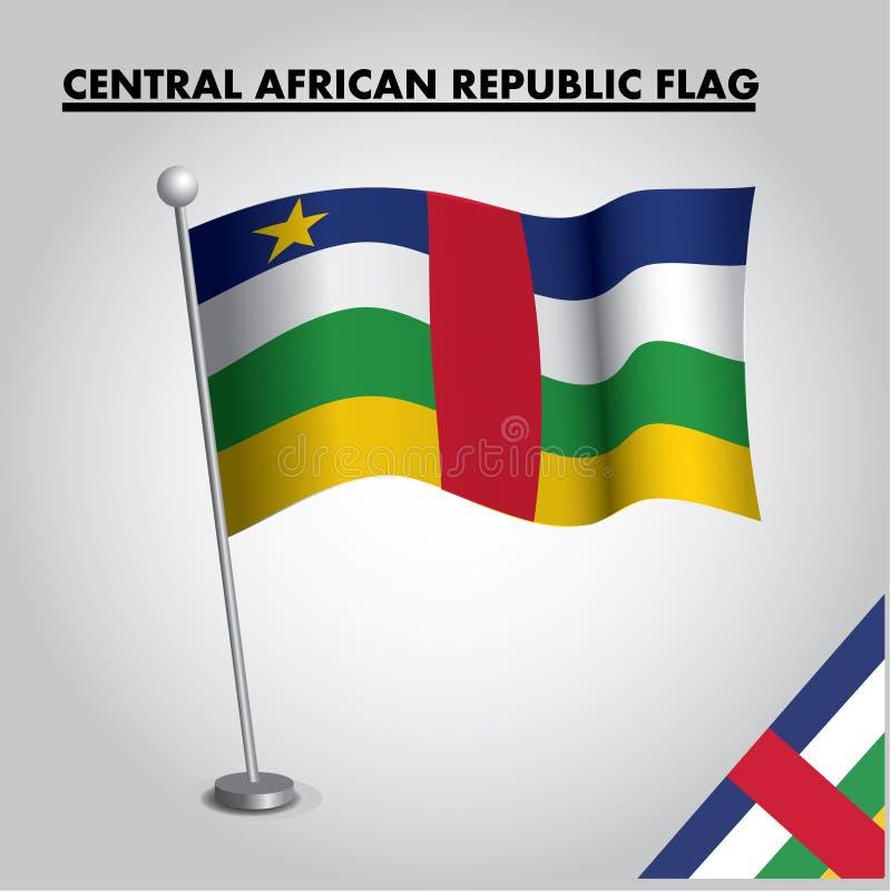 REPUBLIK- ZENTRALAFRIKAflagge Staatsflagge von REPUBLIK ZENTRALAFRIKA auf einem Pfosten vektor abbildung