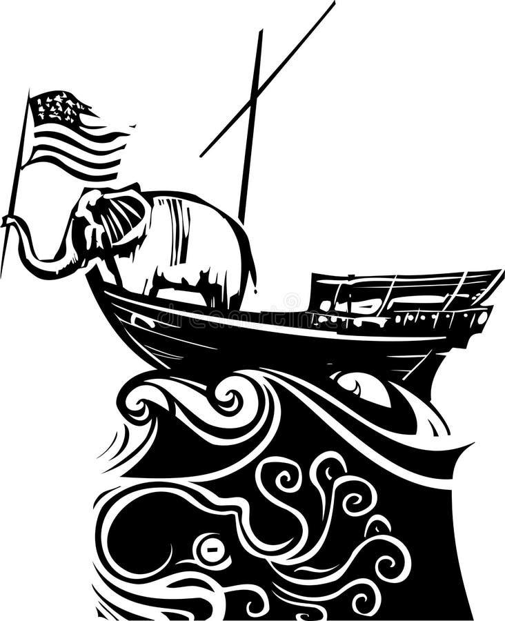 Republikański słoń Gubjący przy morzem ilustracja wektor