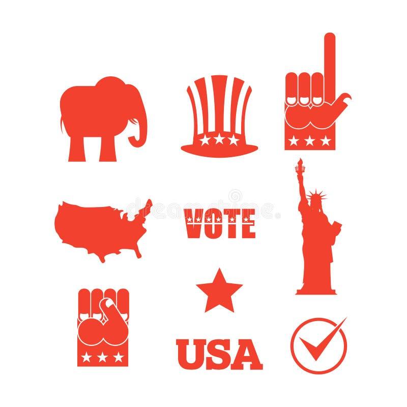 Republikański słoni wyborów ikony set Symbole polityczna norma ilustracji