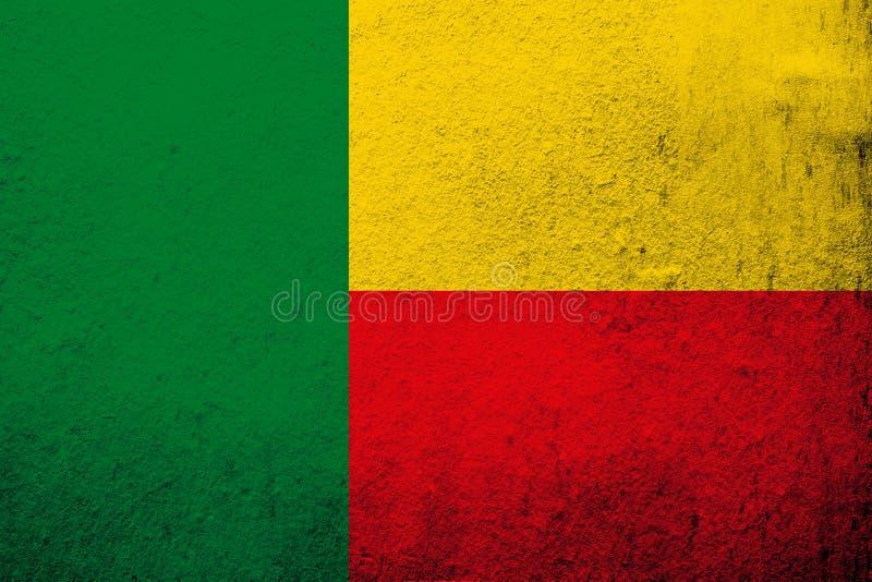Republika Benin flaga państowowa Grunge tło royalty ilustracja