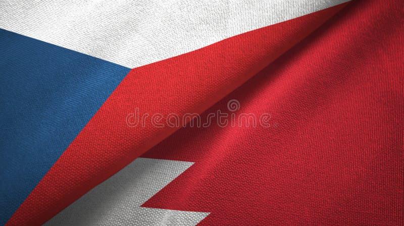 Republika Czech i Bahrajn dwa flagi tekstylny płótno, tkaniny tekstura ilustracja wektor