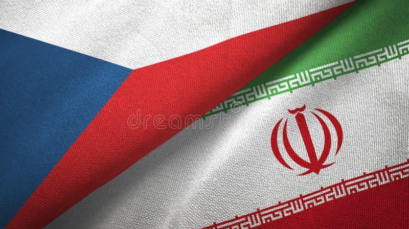 Republika Czech i Iran dwa flagi tekstylny płótno, tkaniny tekstura royalty ilustracja