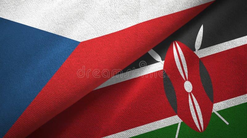 Republika Czech i Kenja dwa flagi tekstylny płótno, tkaniny tekstura ilustracji