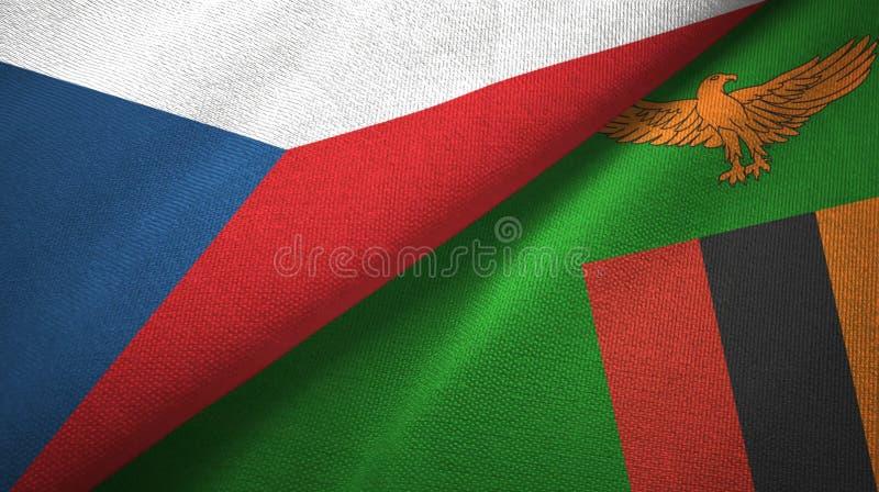 Republika Czech i zambiowie dwa flagi tekstylny płótno, tkaniny tekstura ilustracja wektor