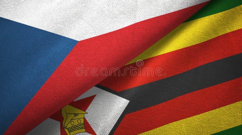 Republika Czech i Zimbabwe dwa flagi tekstylny płótno, tkaniny tekstura royalty ilustracja
