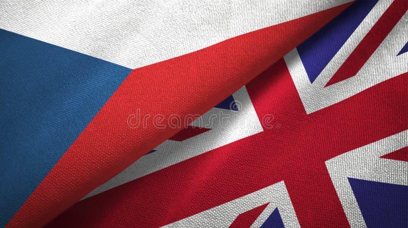 Republika Czech i Zjednoczone Królestwo dwa flagi tekstylny płótno, tkaniny tekstura ilustracja wektor