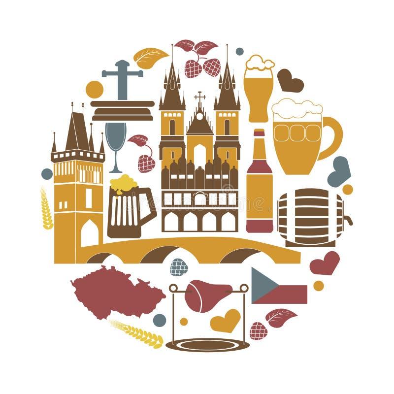 Republika Czech krajowi elementy inkasowi w round kształcie ilustracji