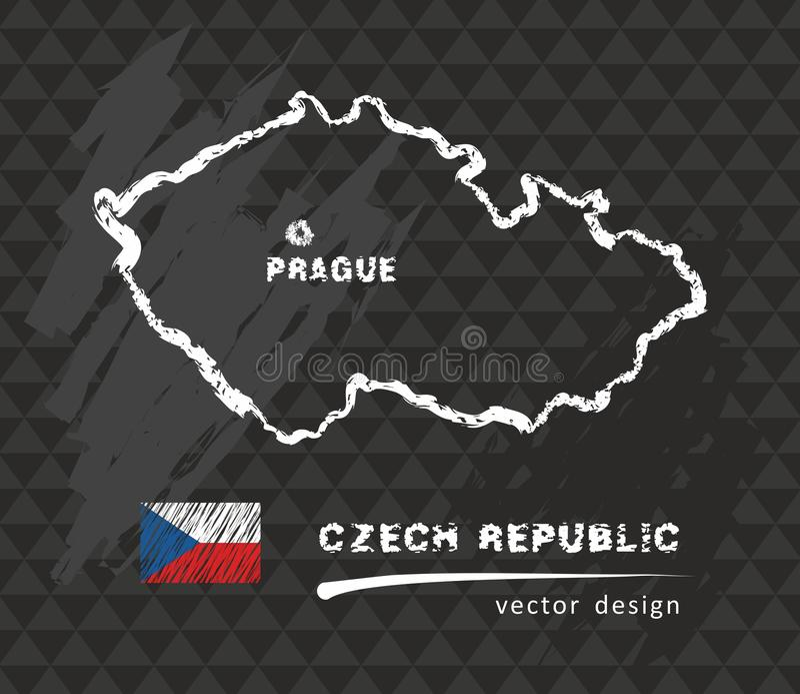 Republika Czech mapa, wektorowy rysunek na blackboard ilustracja wektor