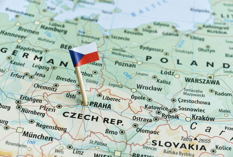 Republika Czech mapy flaga szpilka fotografia stock