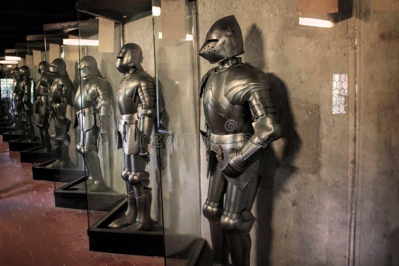 Republika Czech Praga, Wrzesień, - 21, 2017: Rycerze i zbroja pokój w muzeum fotografia royalty free