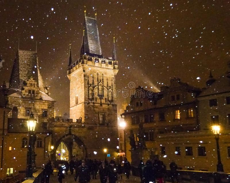 Republika Czech - Snowing w Praga zdjęcia royalty free
