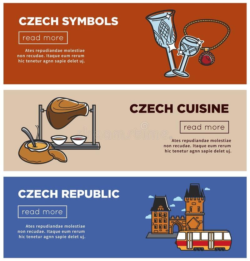 Republika Czech wektorowi sztandary zwiedzający symbole i Praga podróżują przyciąganie ikony royalty ilustracja