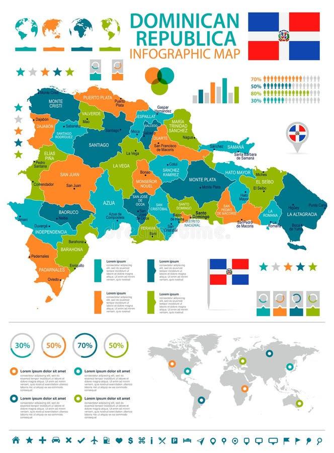 Republika Dominikańska - infographic flaga i mapa - Szczegółowa Wektorowa ilustracja ilustracja wektor