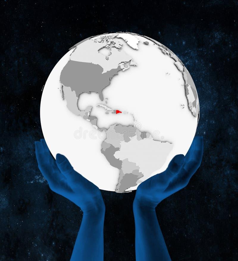 Republika Dominikańska na białej kuli ziemskiej w rękach ilustracja wektor