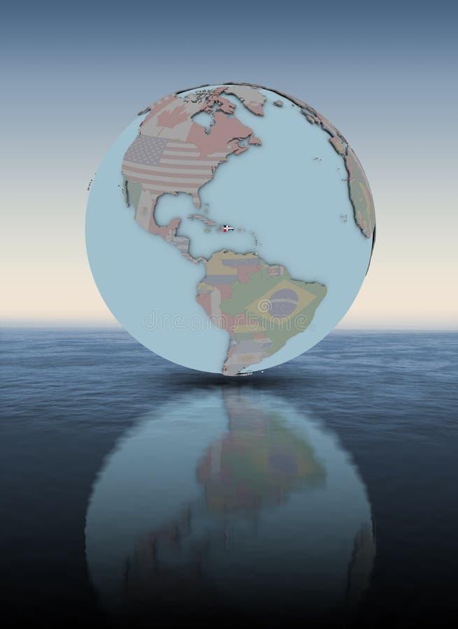 Republika Dominikańska na kuli ziemskiej above - wodnej powierzchni royalty ilustracja