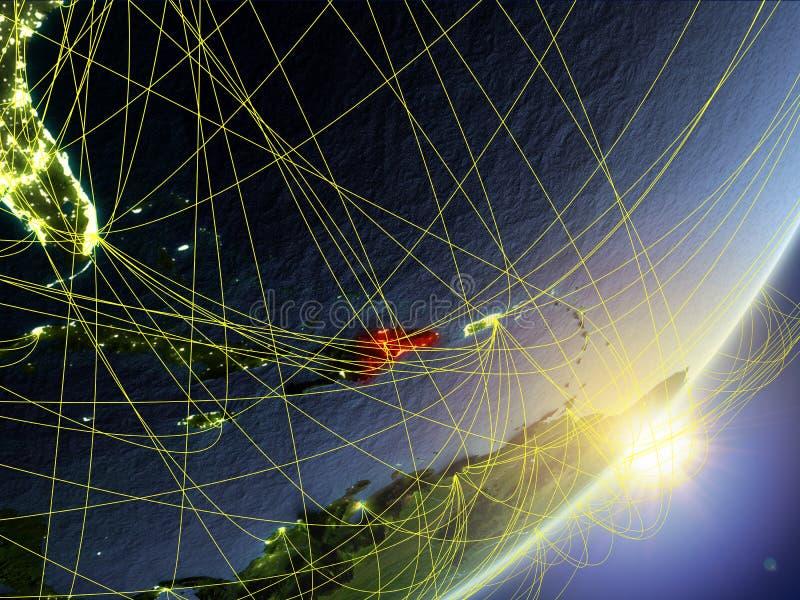 Republika Dominikańska na modelu planety ziemia z siecią podczas wschód słońca Pojęcie nowa technologia, komunikacja i podróż, 3d royalty ilustracja