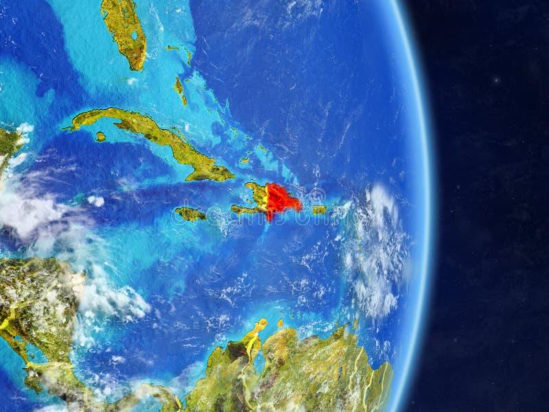 Republika Dominikańska na planety planety ziemi z krajem graniczy Niezwykle szczegółowa planety powierzchnia, chmury i ilustracja ilustracja wektor