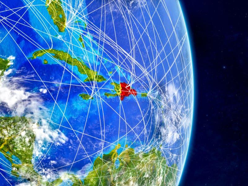 Republika Dominikańska na planety ziemi z sieciami Niezwykle szczegółowa planety powierzchnia, chmury i ilustracja 3 d Elementy t ilustracja wektor