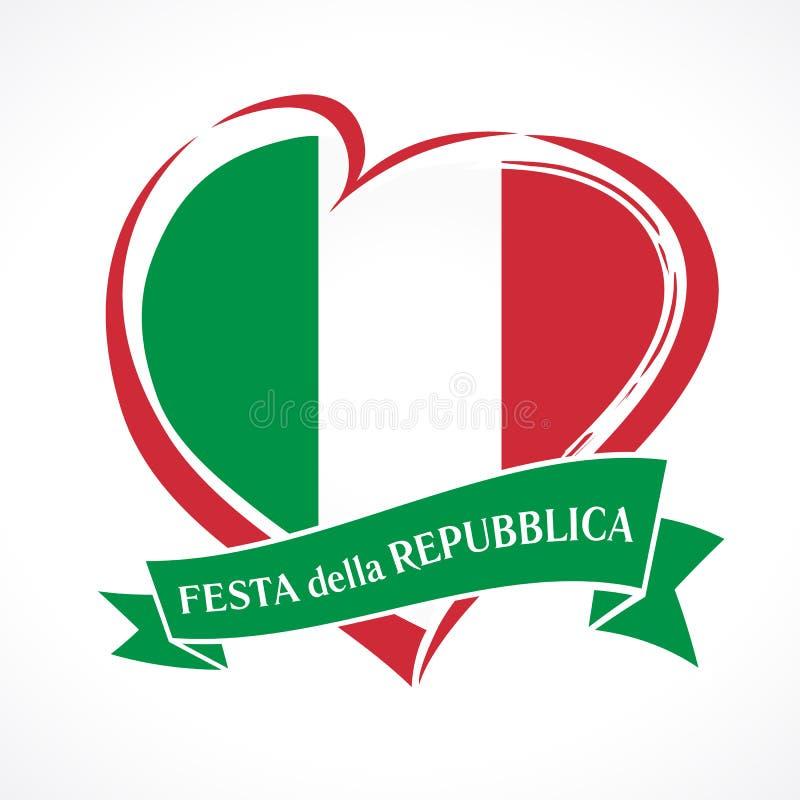 Republika dzień Włochy barwił, kierowy emblemat z flaga państowowa i włoski tekst na faborku royalty ilustracja