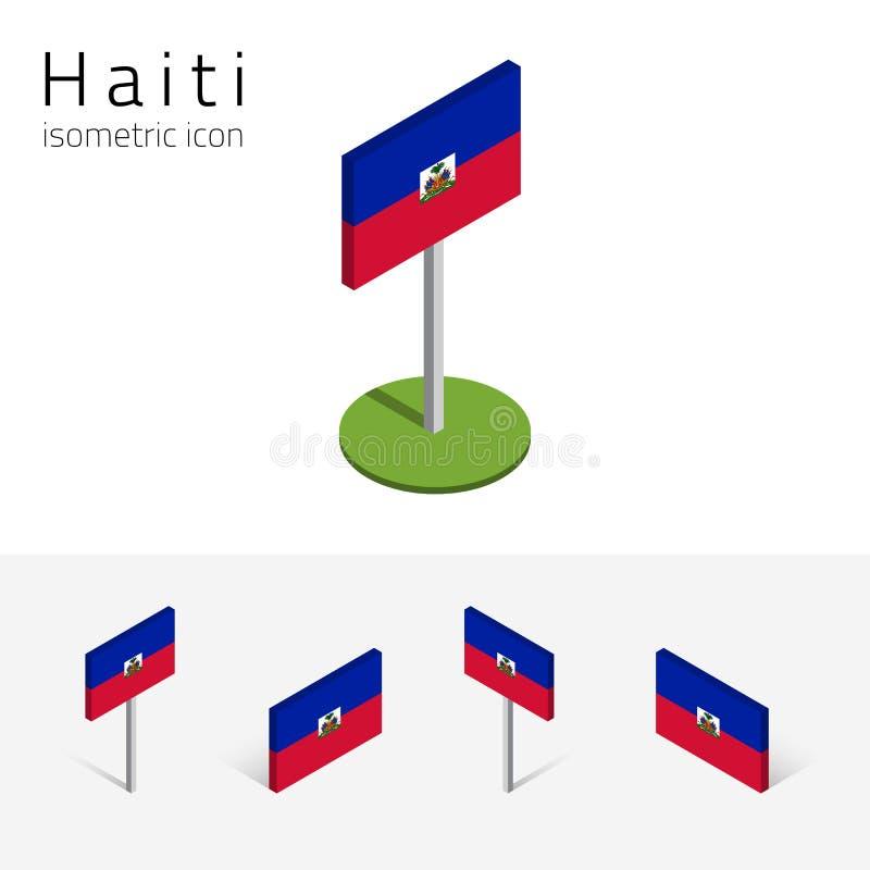 Republika Haiti flaga, wektorowy ustawiający 3D isometric ikony ilustracja wektor