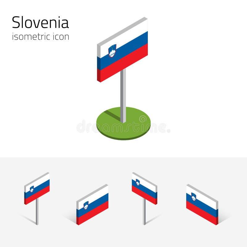 Republika Slovenia flaga, wektorowy ustawiający 3D isometric ikony royalty ilustracja