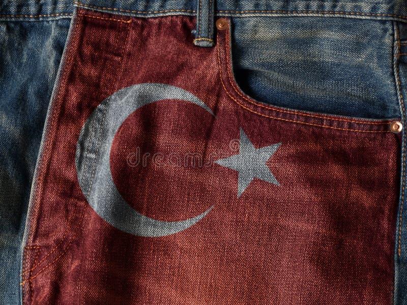 Republika Turcja flaga Na cajgu drelichu teksturze Pojęcie r fotografia stock