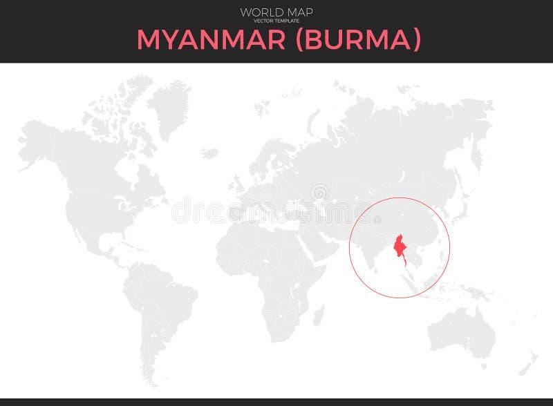 Republika zjednoczenie Myanmar lokaci mapa royalty ilustracja