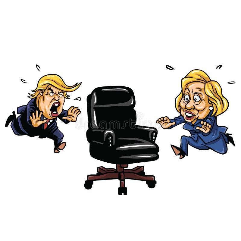 RepublikanDonald Trump kontra demokrat Hillary Clinton Running For Presidential Chair royaltyfri illustrationer