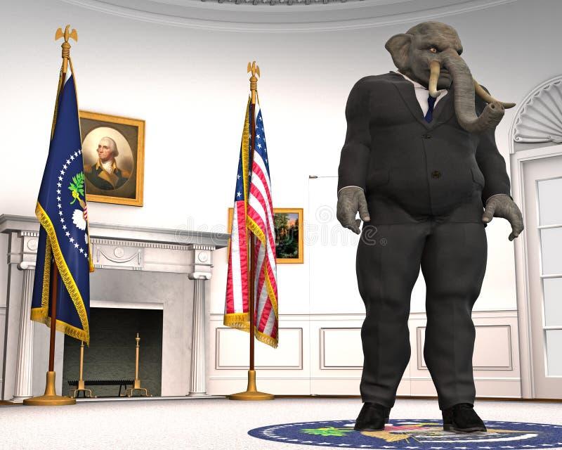 Republikanin, słoń, Owalny biuro, polityka, bielu dom ilustracji