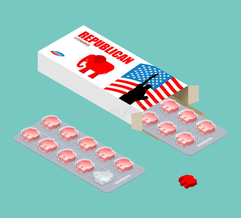 Republikanische Vitamine Politische Tabletten Pilse im Satz Natürliche PR lizenzfreie abbildung