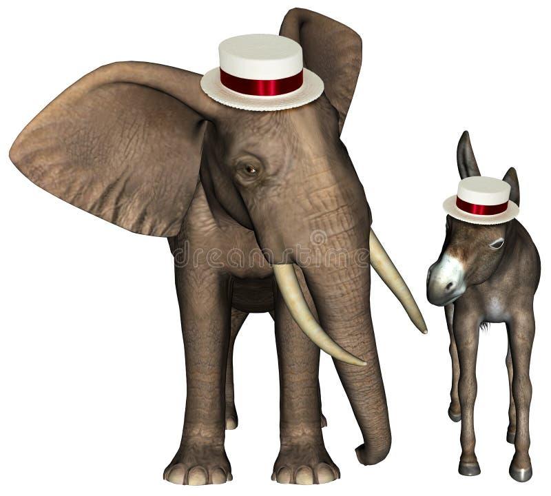 Republikanischer Demokrat Elefant-Esel lokalisiert lizenzfreie abbildung