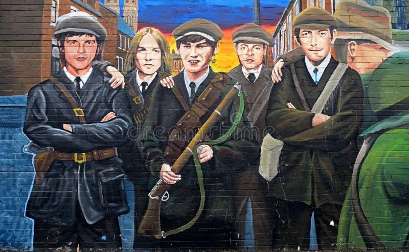 Republikansk väggmålning, Belfast som är nordlig - Irland arkivfoto