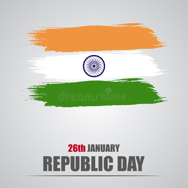Republikdag Indien Vattenfärgflagga av Indien på en grå bakgrund stock illustrationer