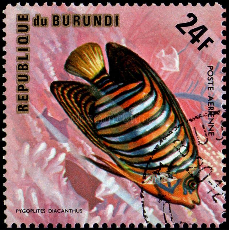 REPUBLIKEN BURUNDI - CIRCA 1974: portostämpeln som skrivs ut i Burundi, visar en fisk den kungliga havsängelPygoplites diacanthus arkivfoton
