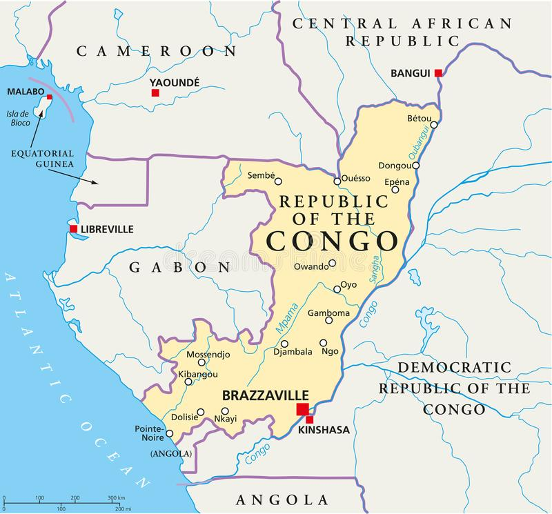 Republiken Kongo politisk översikt vektor illustrationer