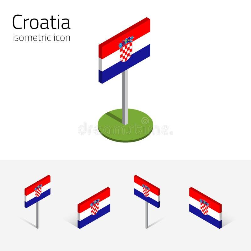 Republiken Kroatien flagga, vektoruppsättning av isometriska symboler 3D stock illustrationer