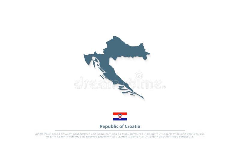 Republiken Kroatien isolerade översikten och officiella flaggasymboler stock illustrationer