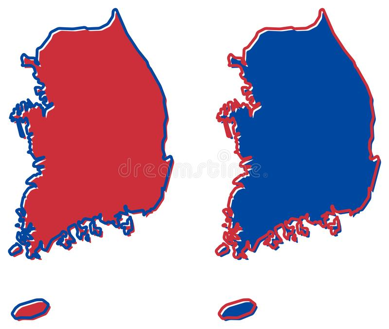 Republiken Sydkorea ROK förenklade översiktsöversikten Påfyllning och s stock illustrationer