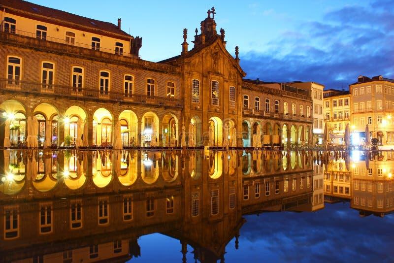 Republikfyrkant, Braga, Portugal arkivfoton