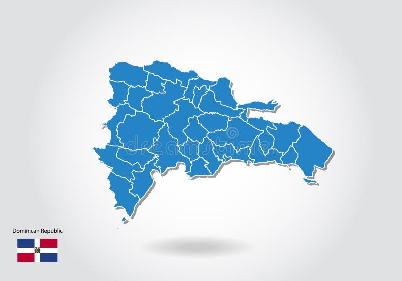Republiki Dominikańskiej mapy projekt z 3D stylem Błękitna republiki dominikańskiej flaga państowowa i mapa Prosta wektorowa mapa ilustracji