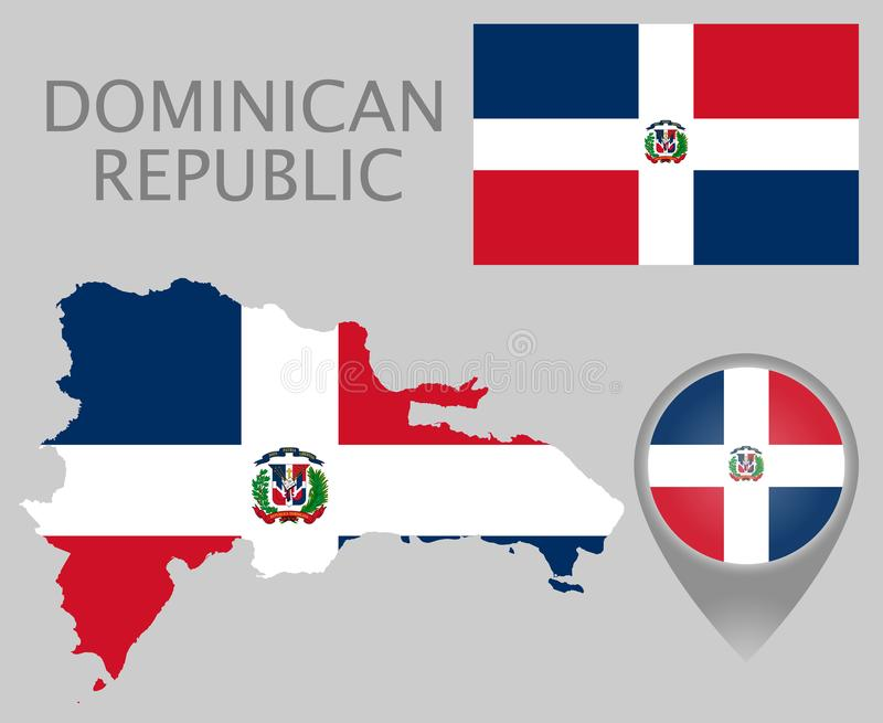 Republiki Dominikańskiej flaga, mapa i mapa pointer, royalty ilustracja