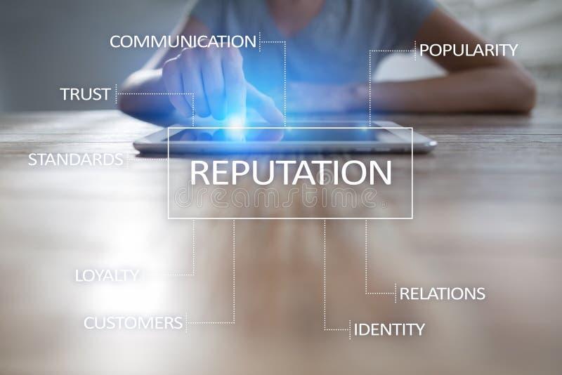 Reputaci i klienta związku biznesowy cocnept na wirtualnym ekranie fotografia royalty free