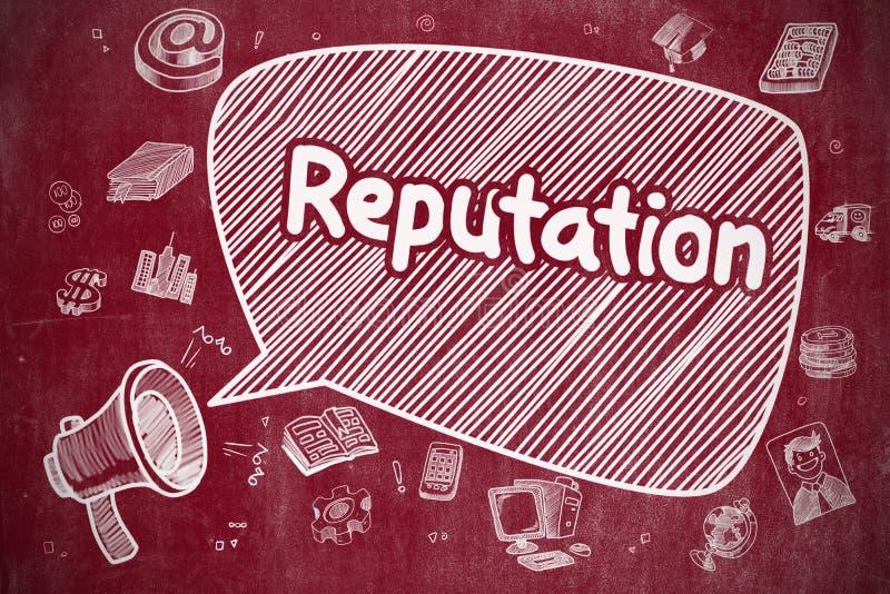 Reputacja - kreskówki ilustracja na Czerwonym Chalkboard ilustracja wektor