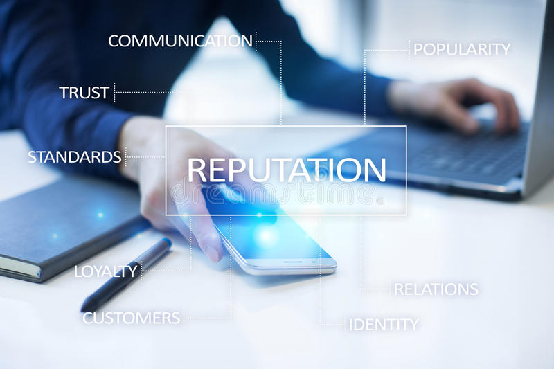Reputation and customer relationship business cocnept on virtual screen. Reputation and customer relationship business cocnept on virtual screen royalty free stock photo