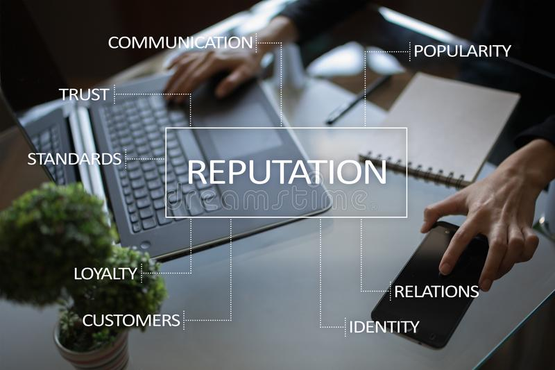Reputation and customer relationship business concept on virtual screen.  royalty free stock photos