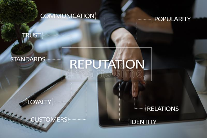 Reputation and customer relationship business concept on virtual screen. Reputation and customer relationship business concept on virtual screen royalty free stock image