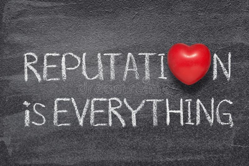 Reputation is heart. Reputation is everything phrase written on chalkboard with red heart symbol royalty free stock photography