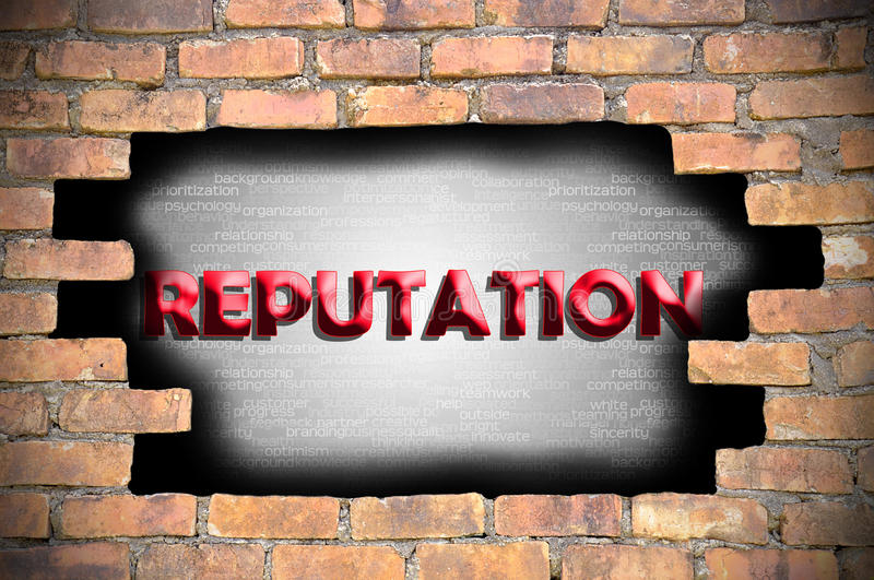 Reputation in the hole of brick wall.  royalty free stock photo