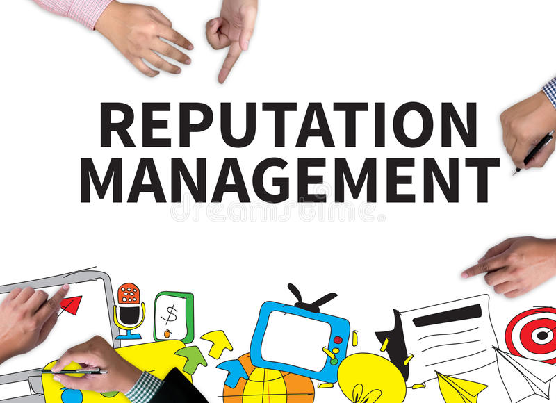REPUTATION MANAGEMENT. Businessman work on white broad, top view stock photo